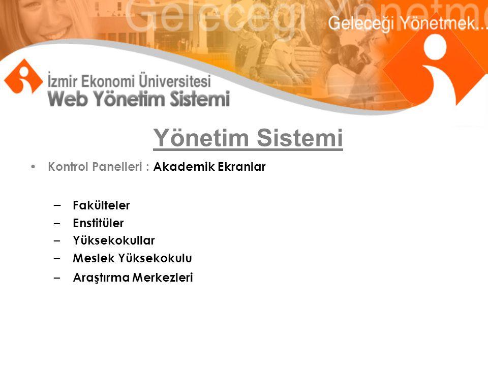 Yönetim Sistemi-Akademik Ekranlar