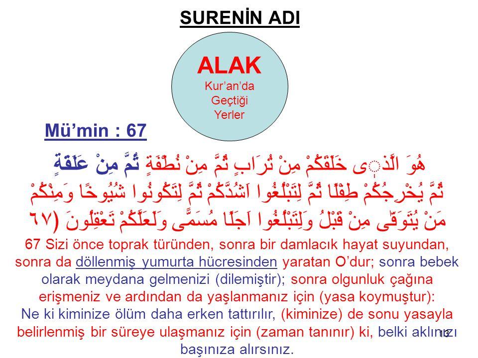 13 SURENİN ADI ALAK Kur'an'da Geçtiği Yerler هُوَ الَّذى خَلَقَكُمْ مِنْ تُرَابٍ ثُمَّ مِنْ نُطْفَةٍ ثُمَّ مِنْ عَلَقَةٍ ثُمَّ يُخْرِجُكُمْ طِفْلًا ثُ