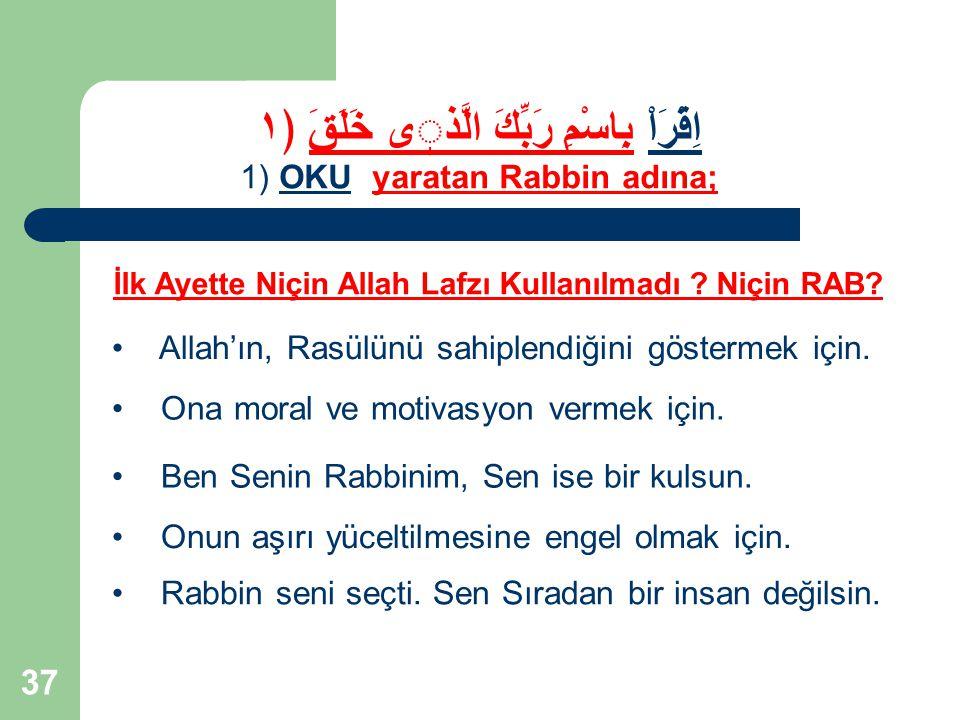 37 Allah'ın, Rasülünü sahiplendiğini göstermek için. Ona moral ve motivasyon vermek için. Ben Senin Rabbinim, Sen ise bir kulsun. İlk Ayette Niçin All