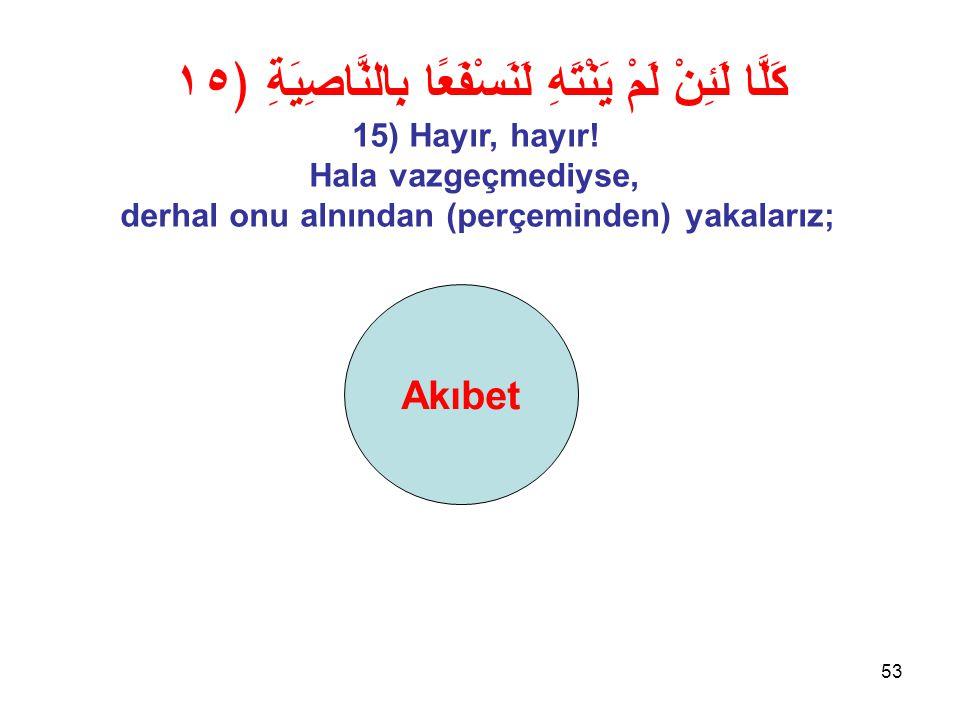 53 Akıbet كَلَّا لَئِنْ لَمْ يَنْتَهِ لَنَسْفَعًا بِالنَّاصِيَةِ ﴿١٥ 15) Hayır, hayır.