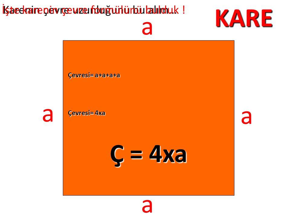 KARE Karenin çevre uzunluğunu bulalım… a a a a Çevresi= a+a+a+a Çevresi= 4xa Ç = 4xa İşte karenin çevre formülünü bulduk !