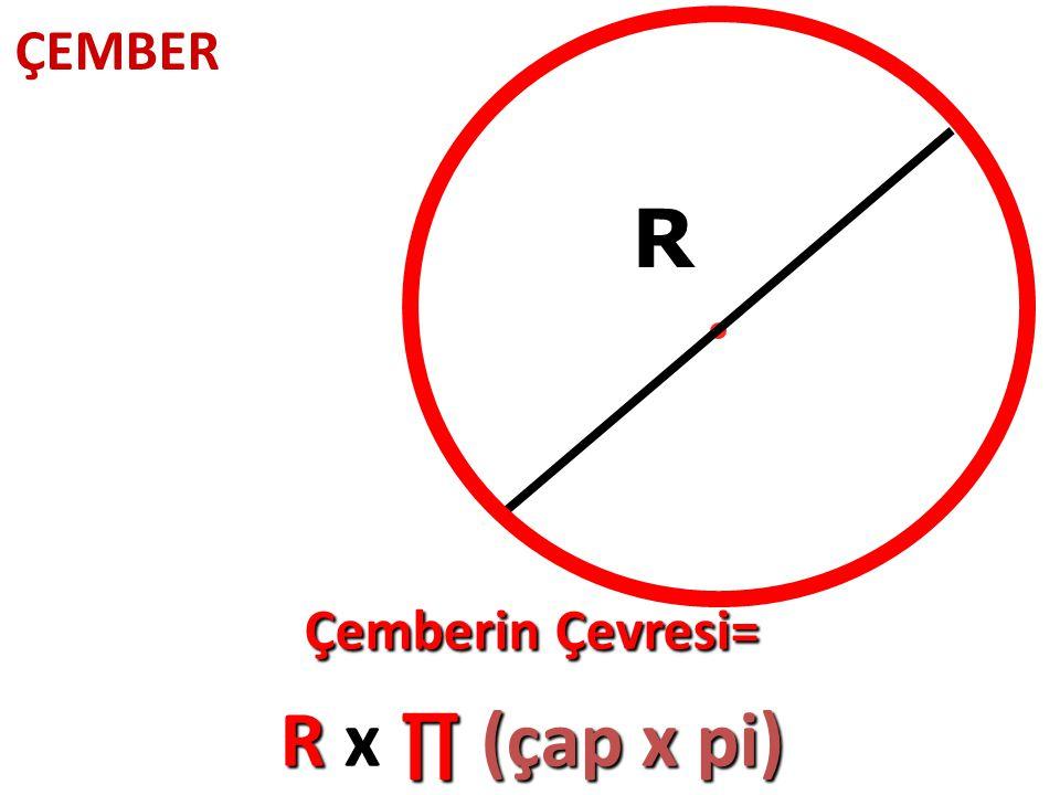 R Çemberin Çevresi= R x ∏ (çap x pi)