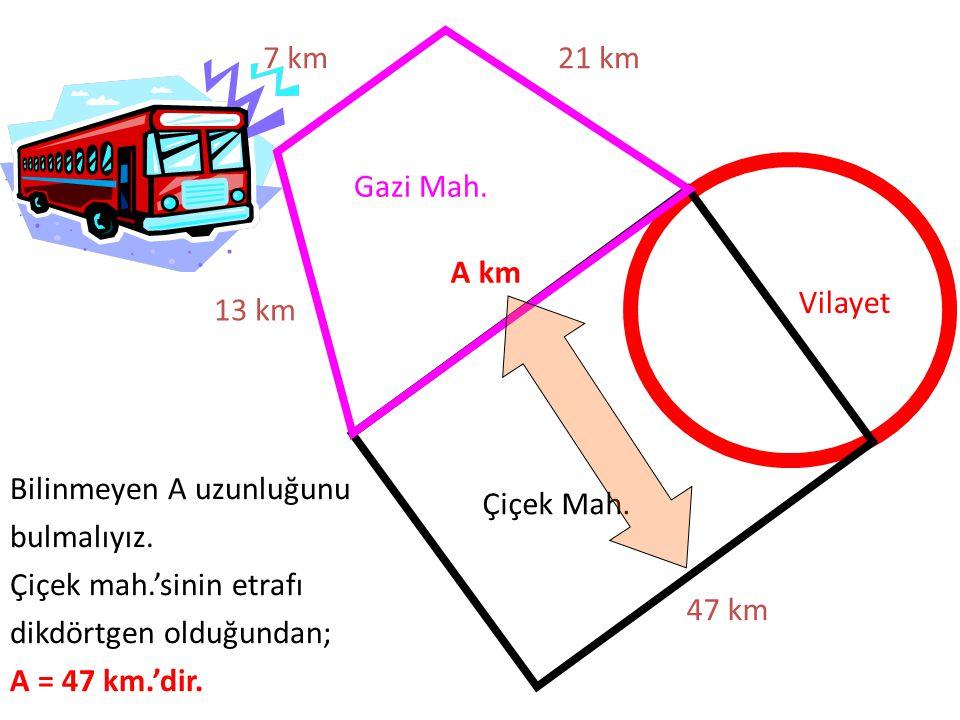 Gazi Mah. Çiçek Mah. Vilayet 47 km 21 km7 km 13 km Bilinmeyen A uzunluğunu bulmalıyız. Çiçek mah.'sinin etrafı dikdörtgen olduğundan; A = 47 km.'dir.