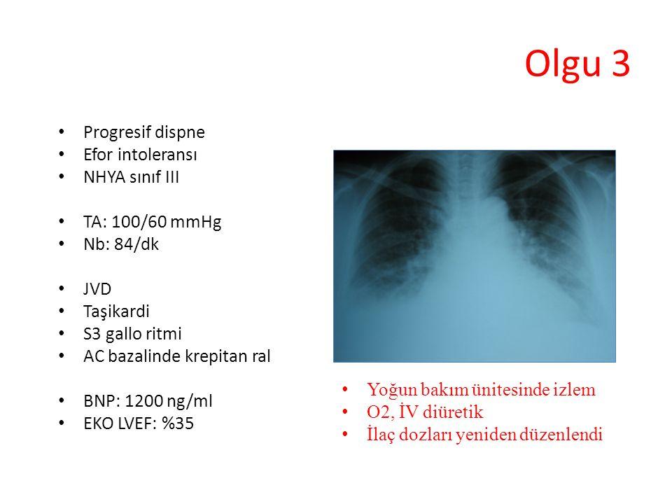 Progresif dispne Efor intoleransı NHYA sınıf III TA: 100/60 mmHg Nb: 84/dk JVD Taşikardi S3 gallo ritmi AC bazalinde krepitan ral BNP: 1200 ng/ml EKO