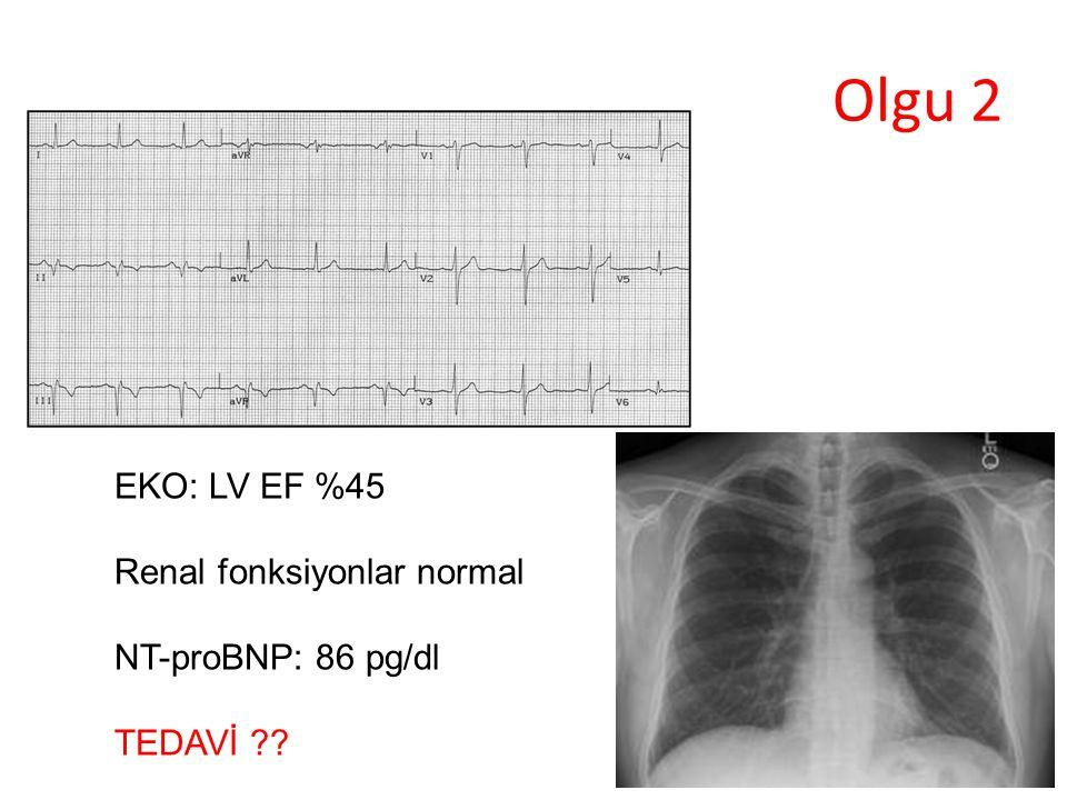 Olgu 2 EKO: LV EF %45 Renal fonksiyonlar normal NT-proBNP: 86 pg/dl TEDAVİ ??