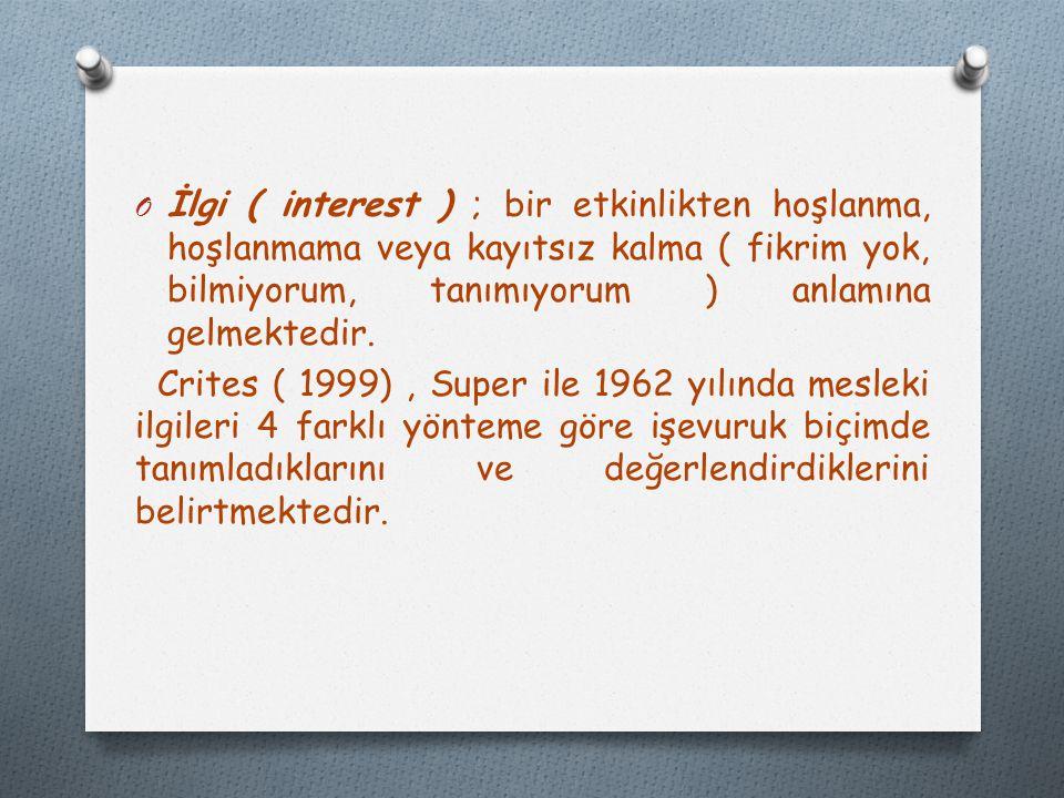 Kaynakça ; Özyürek, R.(2011). Kariyer psikolojik danışmanlığı kuram ve uygulamaları.