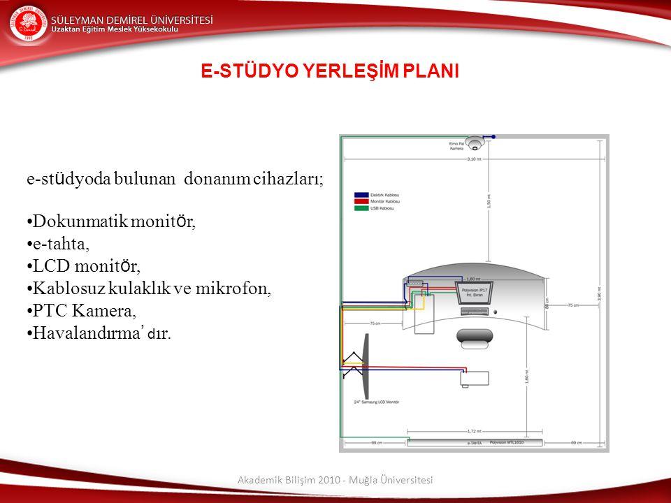 Akademik Bilişim 2010 - Muğla Üniversitesi E-STÜDYO YERLEŞİM PLANI e-st ü dyoda bulunan donanım cihazları; Dokunmatik monit ö r, e-tahta, LCD monit ö