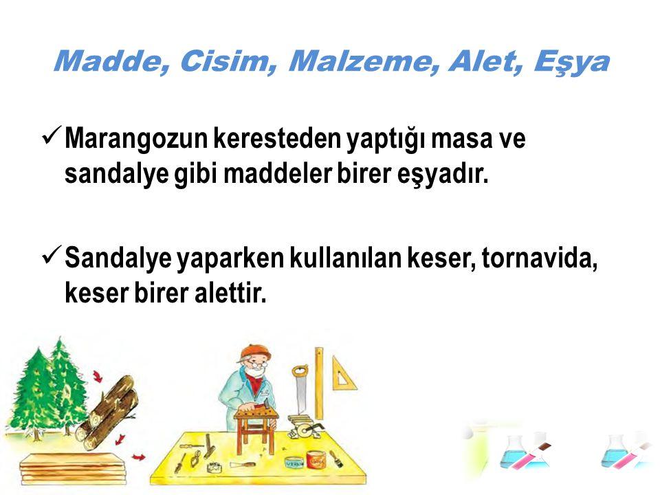 Madde, Cisim, Malzeme, Alet, Eşya Marangozun keresteden yaptığı masa ve sandalye gibi maddeler birer eşyadır. Sandalye yaparken kullanılan keser, torn