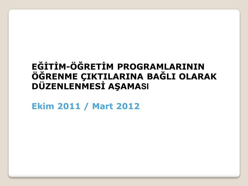 EĞİTİM-ÖĞRETİM PROGRAMLARININ ÖĞRENME ÇIKTILARINA BAĞLI OLARAK DÜZENLENMESİ AŞAMA SI Ekim 2011 / Mart 2012