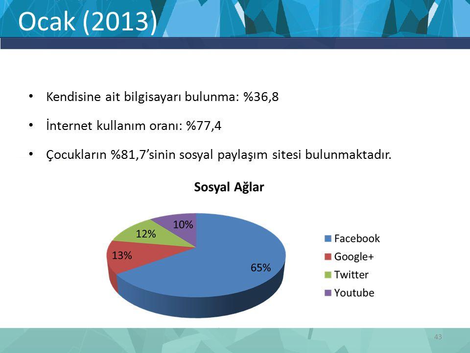 Ocak (2013) 43 Kendisine ait bilgisayarı bulunma: %36,8 İnternet kullanım oranı: %77,4 Çocukların %81,7'sinin sosyal paylaşım sitesi bulunmaktadır.