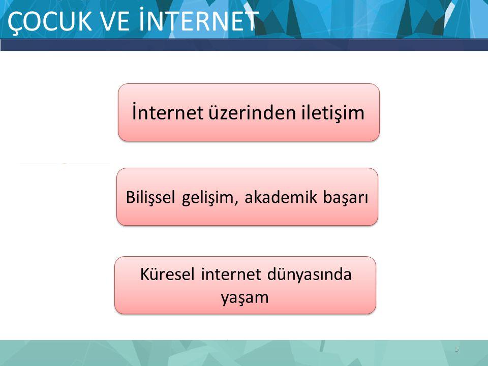 ÇOCUK VE İNTERNET 5 İnternet üzerinden iletişim Küresel internet dünyasında yaşam Bilişsel gelişim, akademik başarı