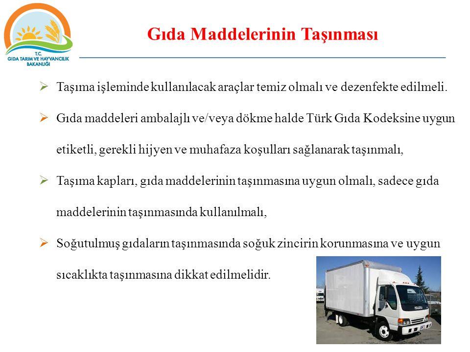 Gıda Maddelerinin Taşınması  Taşıma işleminde kullanılacak araçlar temiz olmalı ve dezenfekte edilmeli.