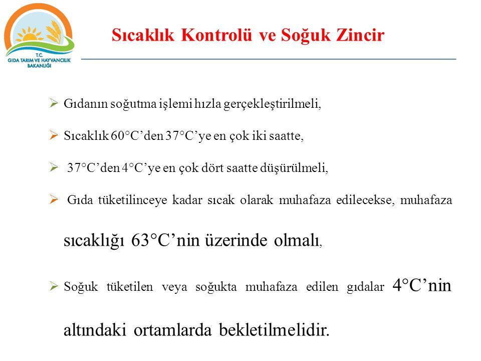 Sıcaklık Kontrolü ve Soğuk Zincir  Gıdanın soğutma işlemi hızla gerçekleştirilmeli,  Sıcaklık 60°C'den 37°C'ye en çok iki saatte,  37°C'den 4°C'ye en çok dört saatte düşürülmeli,  Gıda tüketilinceye kadar sıcak olarak muhafaza edilecekse, muhafaza sıcaklığı 63°C'nin üzerinde olmalı,  Soğuk tüketilen veya soğukta muhafaza edilen gıdalar 4°C'nin altındaki ortamlarda bekletilmelidir.