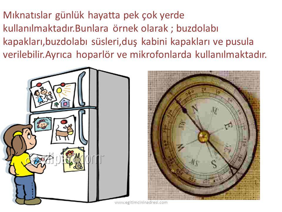 Mıknatıslar günlük hayatta pek çok yerde kullanılmaktadır.Bunlara örnek olarak ; buzdolabı kapakları,buzdolabı süsleri,duş kabini kapakları ve pusula