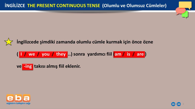 İngilizcede şimdiki zamanda olumlu cümle kurmak için önce özne ( I / we / you / they..) sonra yardımcı fiil (am / is / are ) ve -ing takısı almış fiil