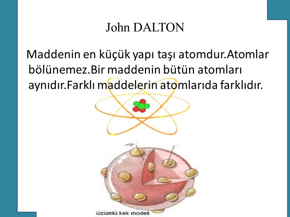 Democritous Maddenin küçük ve bölünemez parçalardan oluştuğunu savunmuştur.Maddelerin farklı görünme sebebi farklı taneciklerden (atomlardan)oluştuğu demektir.