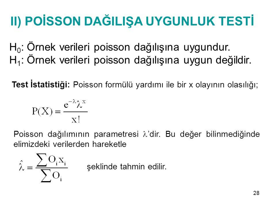 II) POİSSON DAĞILIŞA UYGUNLUK TESTİ H 0 : Örnek verileri poisson dağılışına uygundur. H 1 : Örnek verileri poisson dağılışına uygun değildir. Test İst