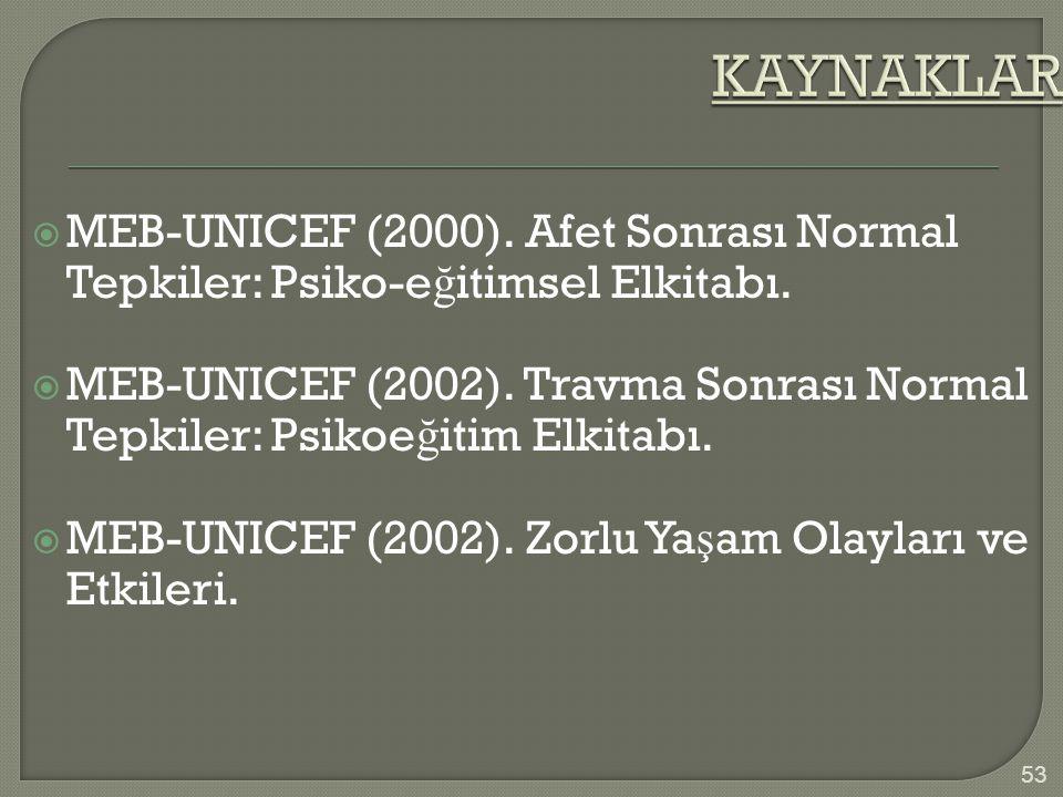  MEB-UNICEF (2000). Afet Sonrası Normal Tepkiler: Psiko-e ğ itimsel Elkitabı.