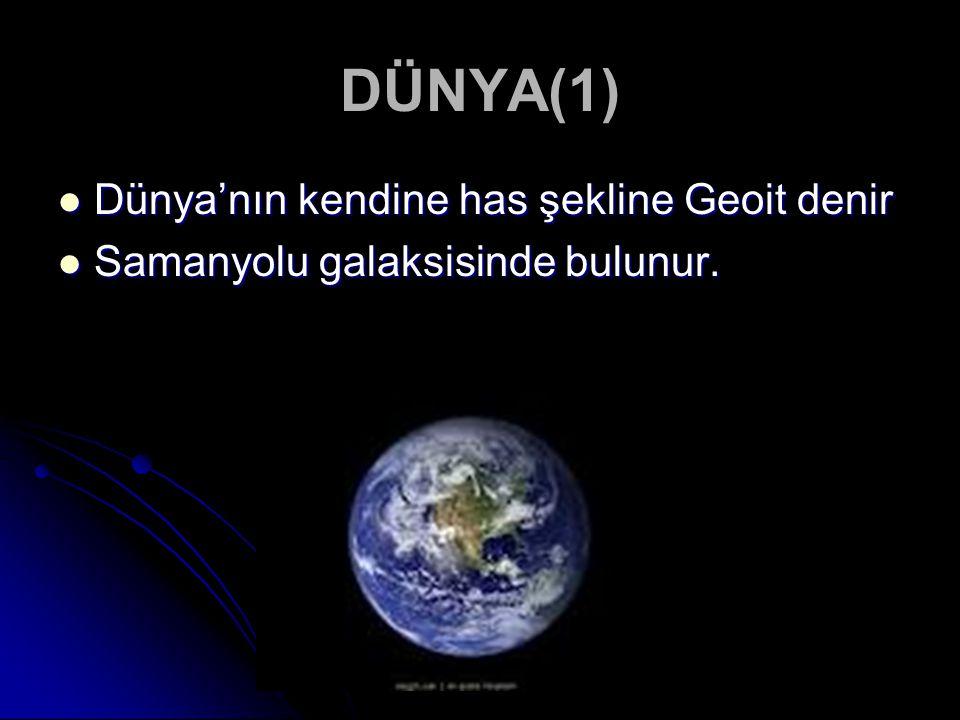 DÜNYA(1) Dünya'nın kendine has şekline Geoit denir Dünya'nın kendine has şekline Geoit denir Samanyolu galaksisinde bulunur. Samanyolu galaksisinde bu