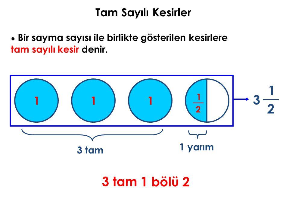 Tam Sayılı Kesirler ● Bir sayma sayısı ile birlikte gösterilen kesirlere tam sayılı kesir denir. 1 2 3 3 tam 1 yarım 3 tam 1 bölü 2 111