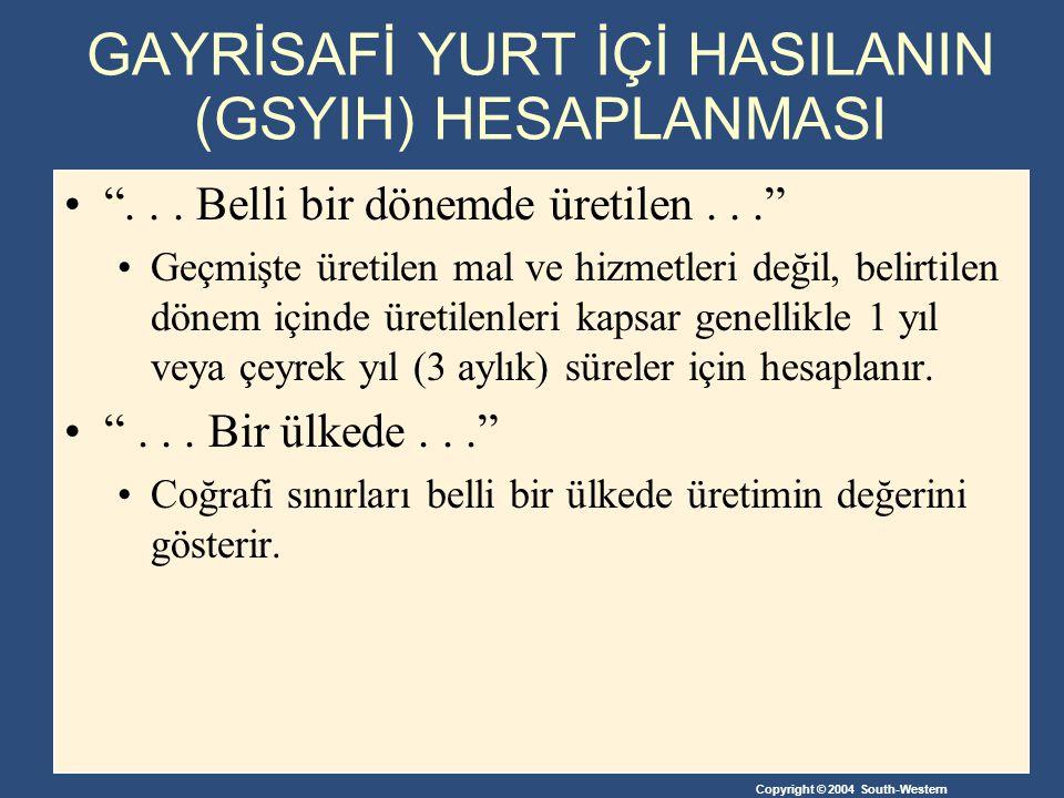 Copyright © 2004 South-Western GAYRİSAFİ YURT İÇİ HASILANIN (GSYIH) HESAPLANMASI ...