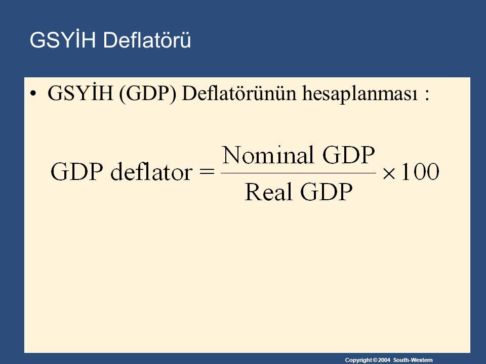 Copyright © 2004 South-Western GSYİH Deflatörü GSYİH (GDP) Deflatörünün hesaplanması :