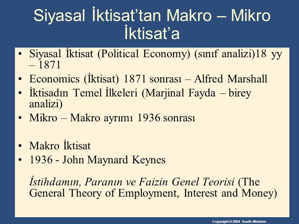 Copyright © 2004 South-Western Siyasal İktisat'tan Makro – Mikro İktisat'a Siyasal İktisat (Political Economy) (sınıf analizi)18 yy – 1871 Economics (İktisat) 1871 sonrası – Alfred Marshall İktisadın Temel İlkeleri (Marjinal Fayda – birey analizi) Mikro – Makro ayrımı 1936 sonrası Makro İktisat 1936 - John Maynard Keynes İstihdamın, Paranın ve Faizin Genel Teorisi (The General Theory of Employment, Interest and Money)