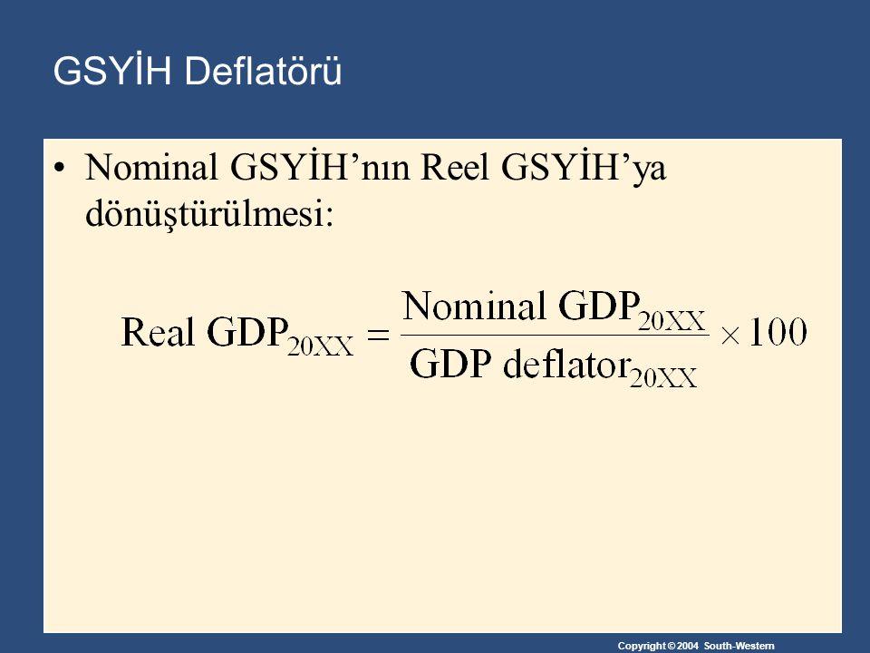 Copyright © 2004 South-Western GSYİH Deflatörü Nominal GSYİH'nın Reel GSYİH'ya dönüştürülmesi: