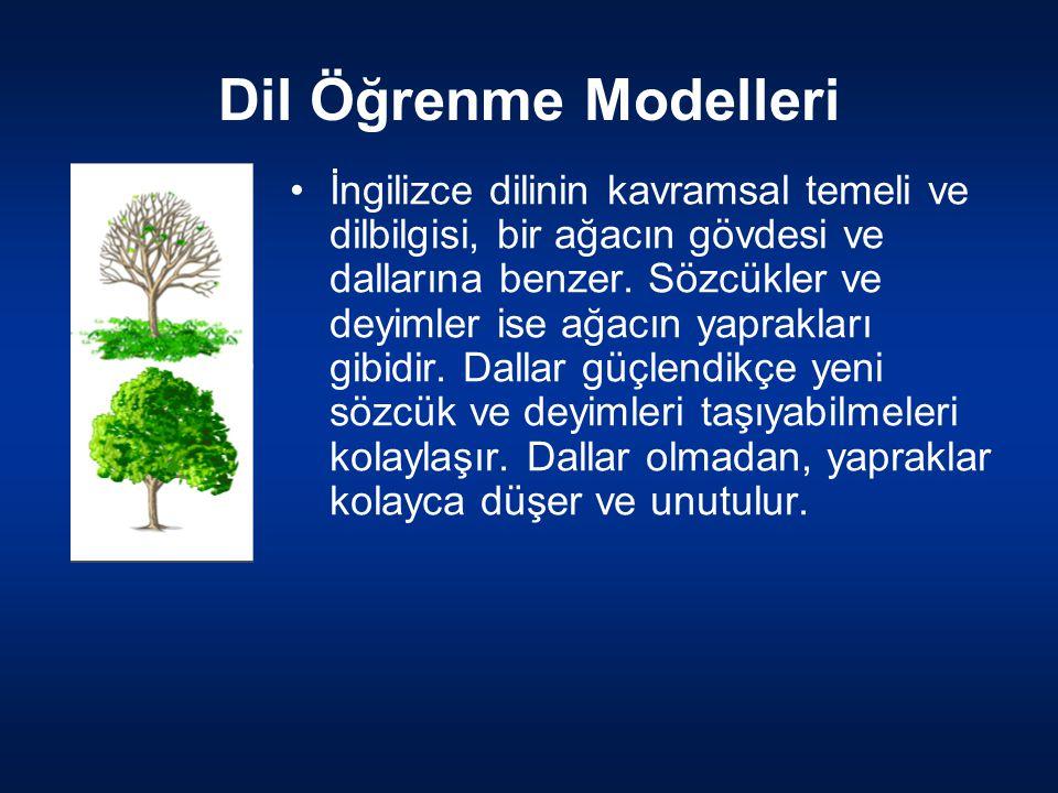 Dil Öğrenme Modelleri İngilizce dilinin kavramsal temeli ve dilbilgisi, bir ağacın gövdesi ve dallarına benzer. Sözcükler ve deyimler ise ağacın yapra
