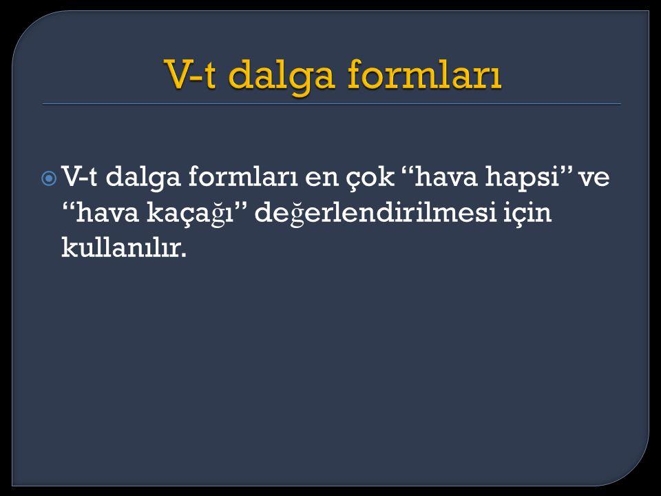 """ V-t dalga formları en çok """"hava hapsi"""" ve """"hava kaça ğ ı"""" de ğ erlendirilmesi için kullanılır."""