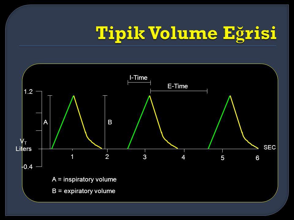 12 3 4 56 SEC 1.2 -0.4 V T Liters I-Time E-Time AB A = inspiratory volume B = expiratory volume
