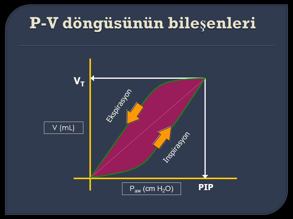 V (mL) Inspirasyon Ekspirasyon PIP VTVT P aw (cm H 2 O)