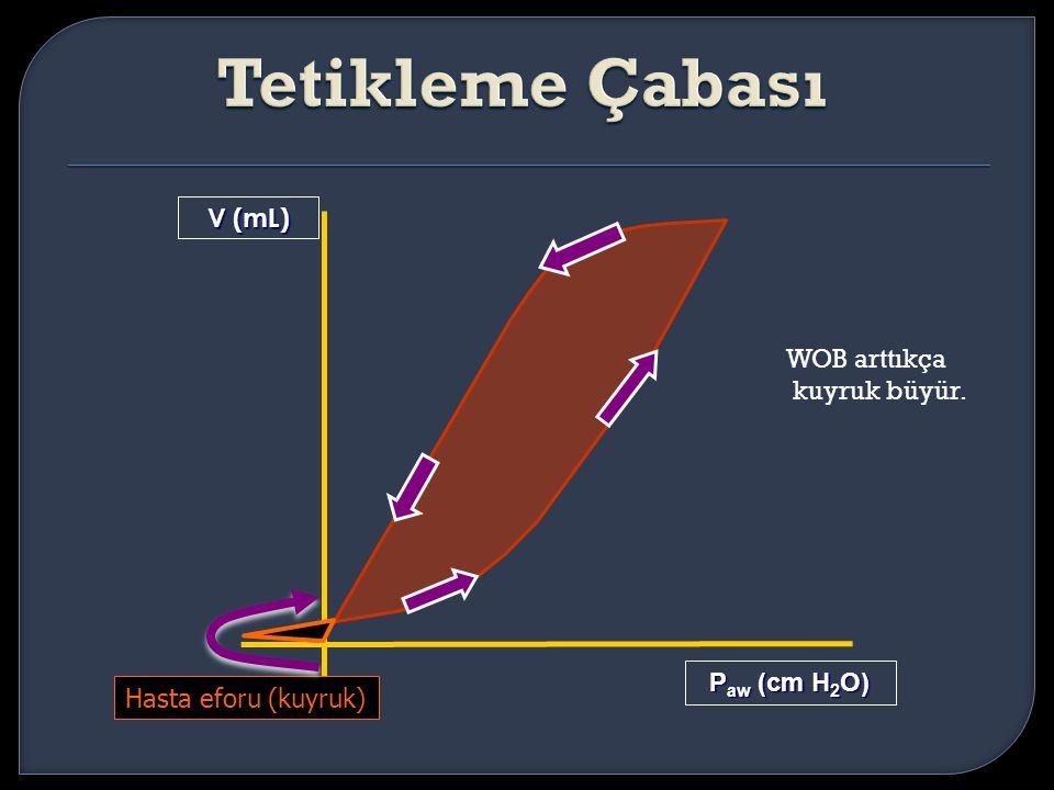 V (mL) P aw (cm H 2 O) Hasta eforu (kuyruk) WOB arttıkça kuyruk büyür.