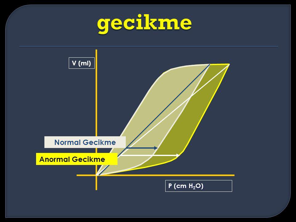 V (ml) P (cm H 2 O) Anormal Gecikme Normal Gecikme
