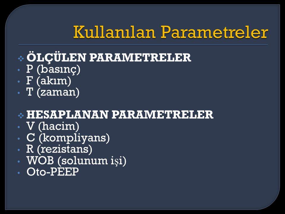  ÖLÇÜLEN PARAMETRELER P (basınç) F (akım) T (zaman)  HESAPLANAN PARAMETRELER V (hacim) C (kompliyans) R (rezistans) WOB (solunum i ş i) Oto-PEEP
