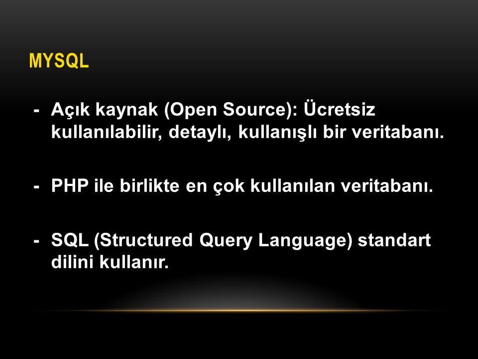 MYSQL -Açık kaynak (Open Source): Ücretsiz kullanılabilir, detaylı, kullanışlı bir veritabanı. -PHP ile birlikte en çok kullanılan veritabanı. -SQL (S