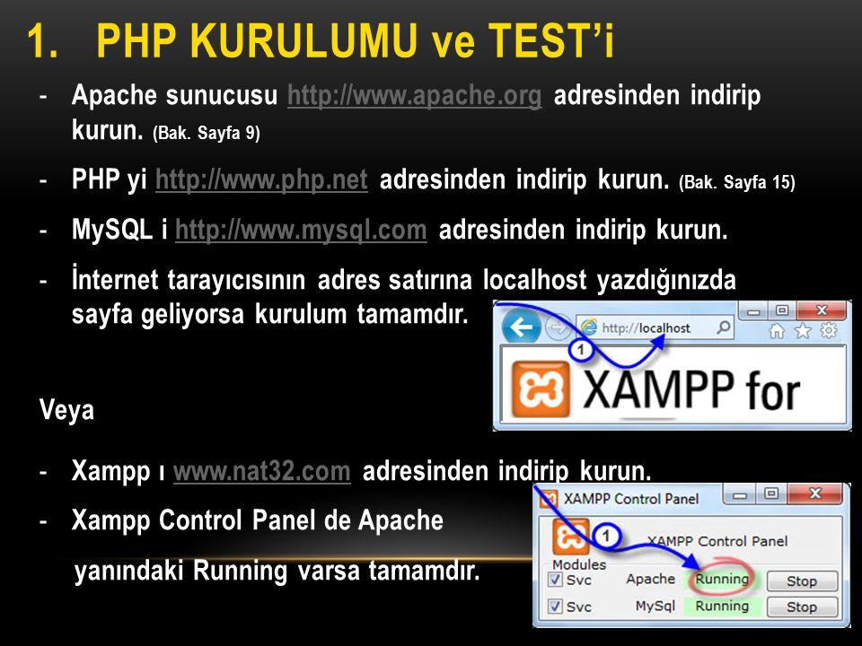 1.PHP KURULUMU ve TEST'i - Apache sunucusu http://www.apache.org adresinden indirip kurun. (Bak. Sayfa 9)http://www.apache.org - PHP yi http://www.php