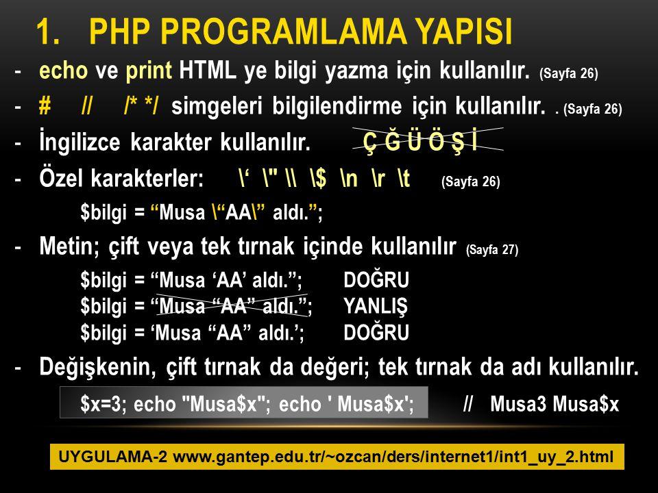 1.PHP PROGRAMLAMA YAPISI - echo ve print HTML ye bilgi yazma için kullanılır. (Sayfa 26) - # // /* */ simgeleri bilgilendirme için kullanılır.. (Sayfa