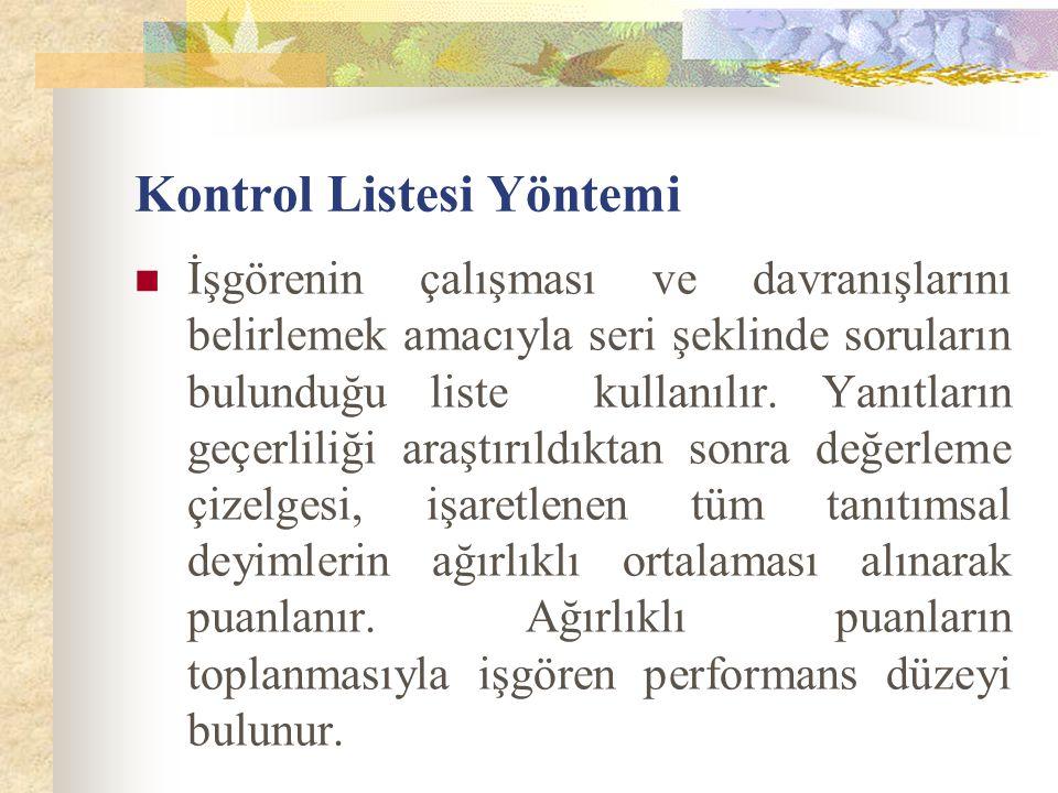 Kontrol Listesi Yöntemi İşgörenin çalışması ve davranışlarını belirlemek amacıyla seri şeklinde soruların bulunduğu liste kullanılır.