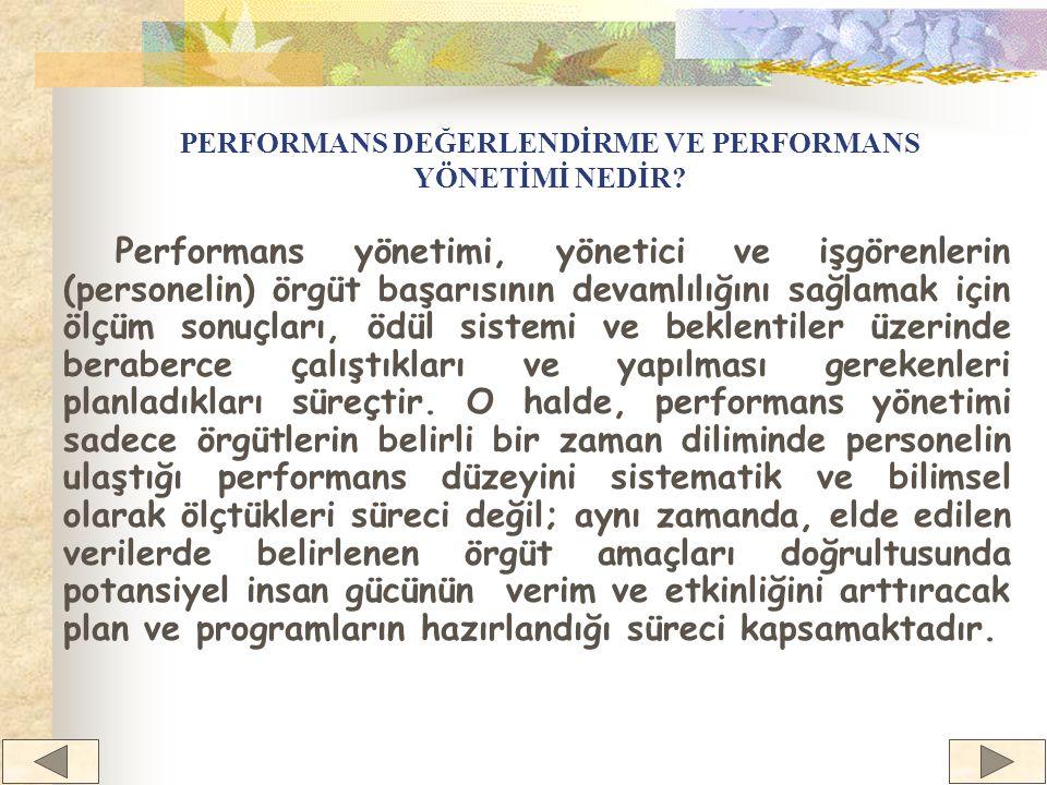 Örgütsel Performans Değerleme Süreci ÖRGÜTSEL AMAÇLAR VE ORTAK STRATEJİLER PERSONEL PERFORMANSININ PLANLANMASI PERSONEL PERFORMANSININ DEĞERLENDİRİLMESİ PERFORMANSIN GELİŞTİRİLMESİ VE ÖDÜLLENDİRİLMESİ