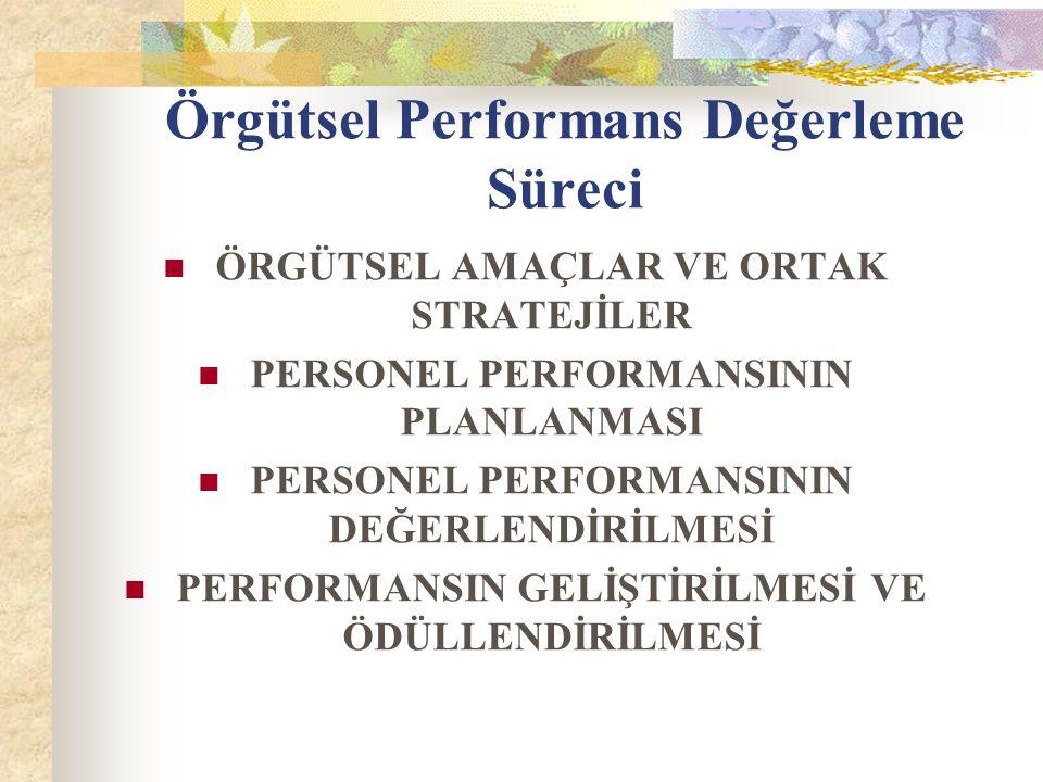 Performans Değerleme Yöntemleri Her yönetici ve örgüt kendi ihityaçlarına en uygun olan yöntemi geliştirme çabası içine girmektedir.