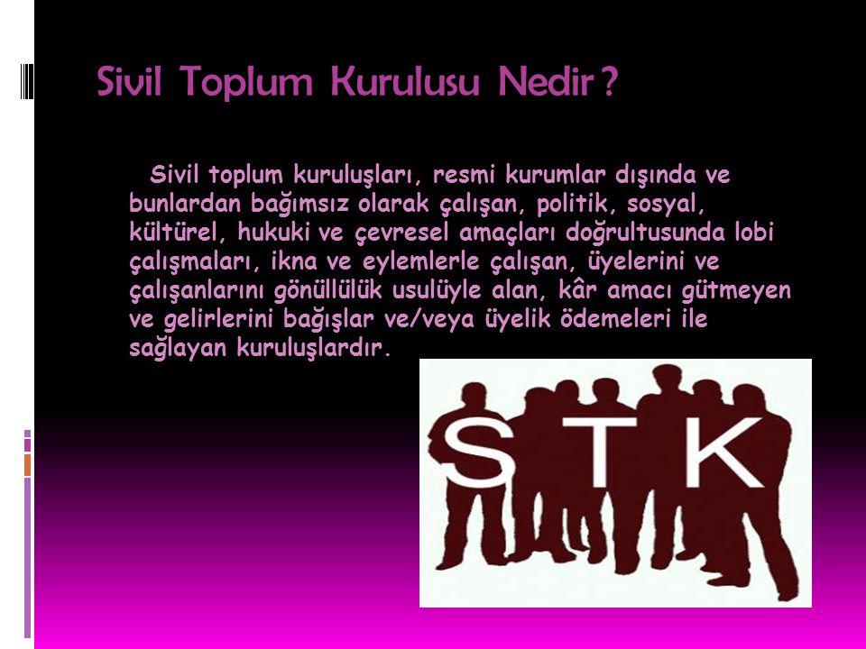 Ülkemizde yüzlerce sivil toplum kuruluşu, derneklerce vakıflar bulunmaktadır.Bunların içerisinde en çok bilinen kuruluşlarından bazılarının isimleri ve görevleri şu şekildedir;  TEMA  KIZILAY  YEŞİLAY  AKUT  LÖSEV  TSK (Türk Silahlı Kuvvetleri)  TDV (Türkiye Diyanet Vakfı)