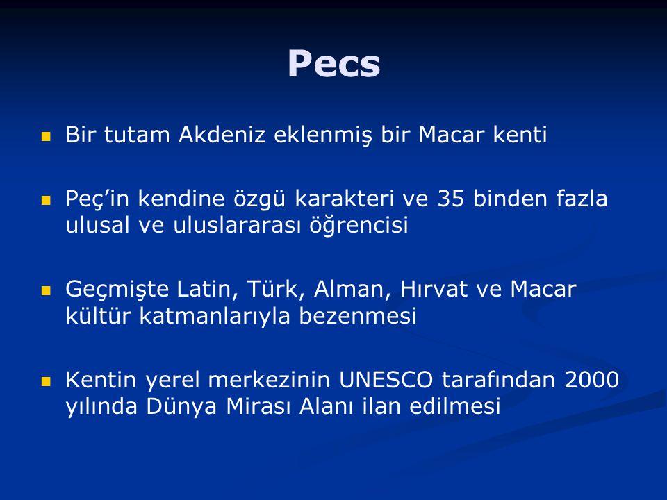 Bir tutam Akdeniz eklenmiş bir Macar kenti Peç'in kendine özgü karakteri ve 35 binden fazla ulusal ve uluslararası öğrencisi Geçmişte Latin, Türk, Alm