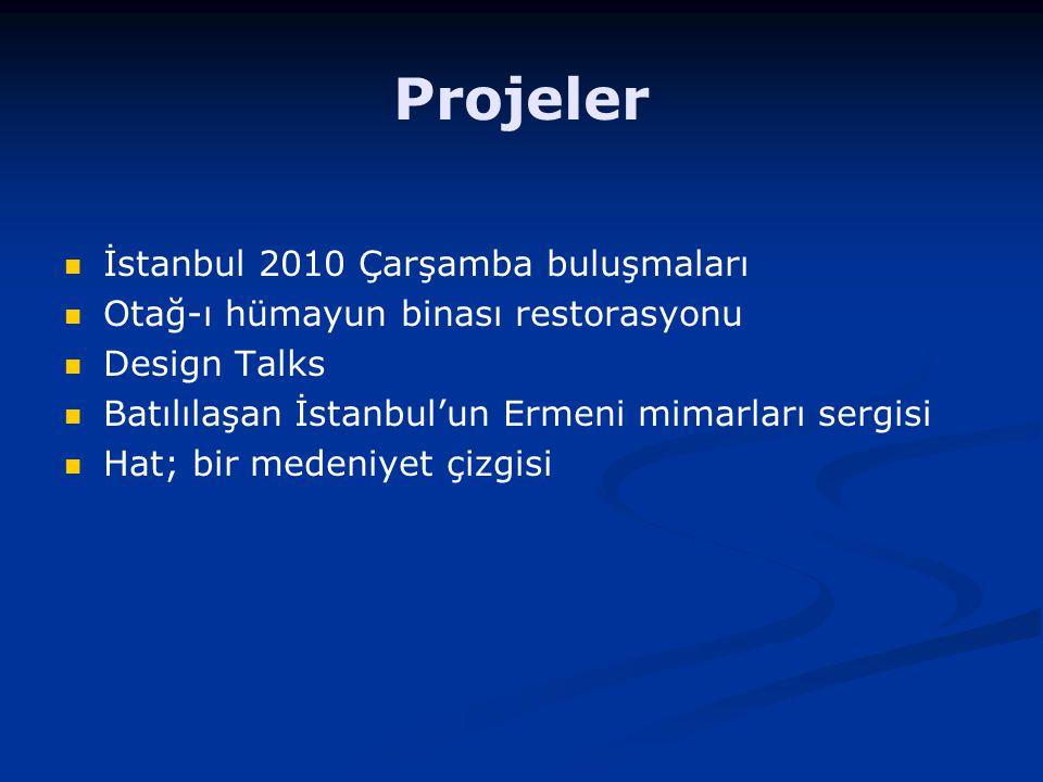 Projeler İstanbul 2010 Çarşamba buluşmaları Otağ-ı hümayun binası restorasyonu Design Talks Batılılaşan İstanbul'un Ermeni mimarları sergisi Hat; bir