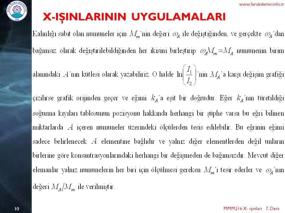 10 MMM216 X- ışınları 7. Ders www.farukdemir.info.tr X-IŞINLARININ UYGULAMALARI