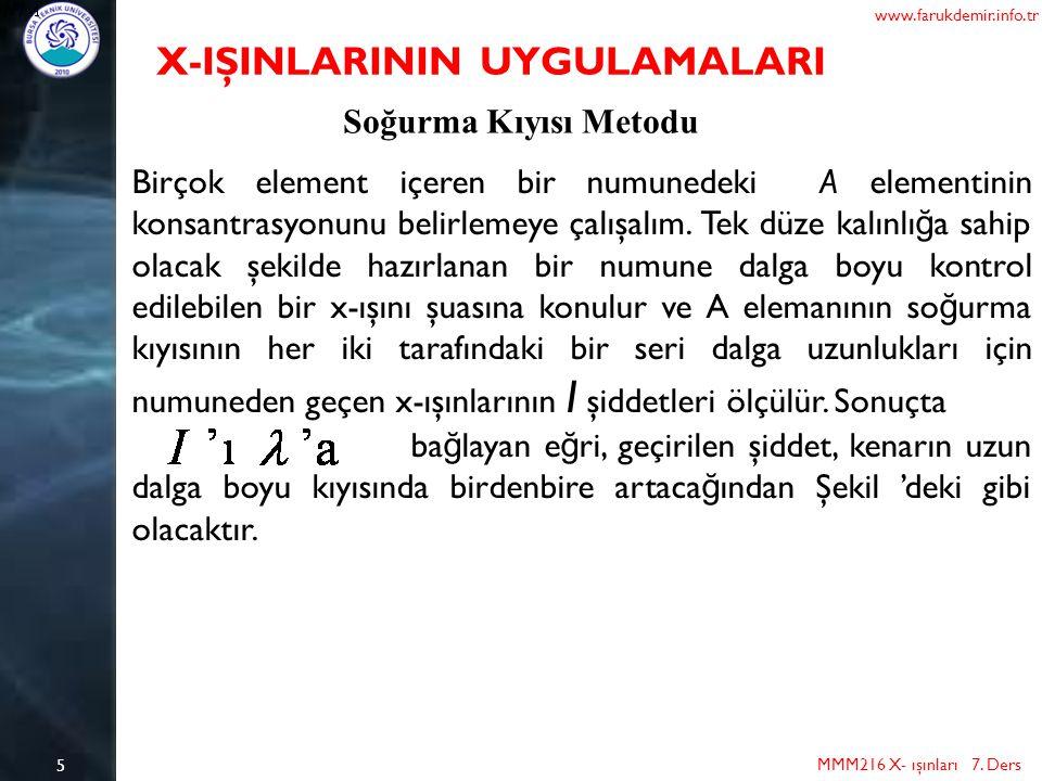 5 MMM216 X- ışınları 7. Ders www.farukdemir.info.tr X-IŞINLARININ UYGULAMALARI Soğurma Kıyısı Metodu Birçok element içeren bir numunedeki A elementini