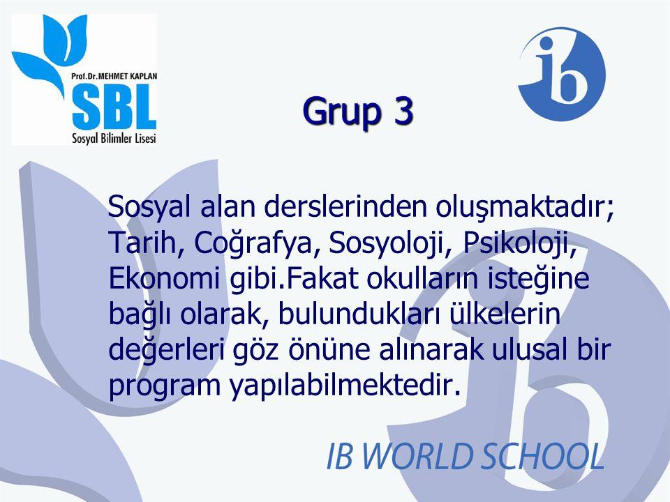 Grup 3 Sosyal alan derslerinden oluşmaktadır; Tarih, Coğrafya, Sosyoloji, Psikoloji, Ekonomi gibi.Fakat okulların isteğine bağlı olarak, bulundukları