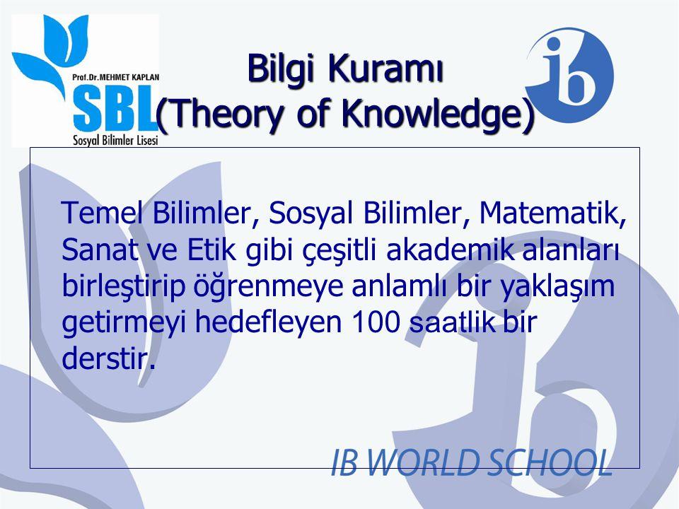 Bilgi Kuramı (Theory of Knowledge) Temel Bilimler, Sosyal Bilimler, Matematik, Sanat ve Etik gibi çeşitli akademik alanları birleştirip öğrenmeye anla