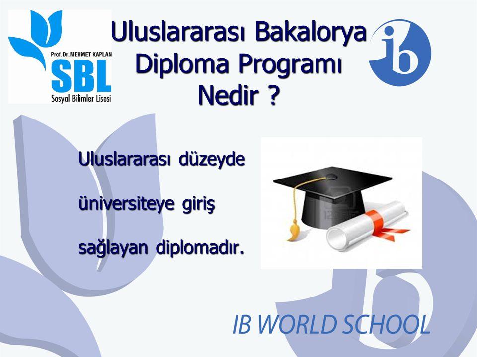 Uluslararas ı Bakalorya Diploma Programı Nedir ? Uluslararası düzeyde üniversiteye giriş sağlayan diplomadır.