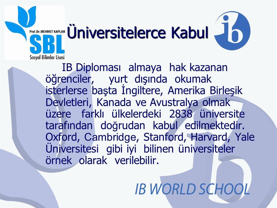 Üniversitelerce Kabul IB Diploması almaya hak kazanan öğrenciler, yurt dışında okumak isterlerse ba ş ta İngiltere, Amerika Birleşik Devletleri, Kanad